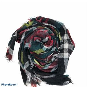 Brand New J. Jill Green and Red Plaid Square Scarf